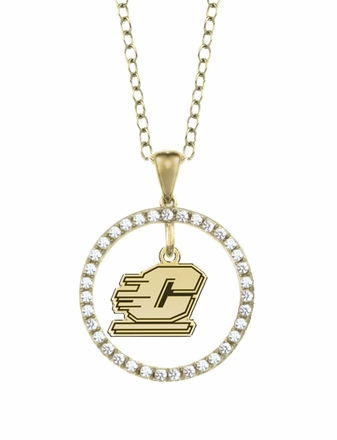 Central Michigan Chippewas Gold and Diamond Circle Pendant