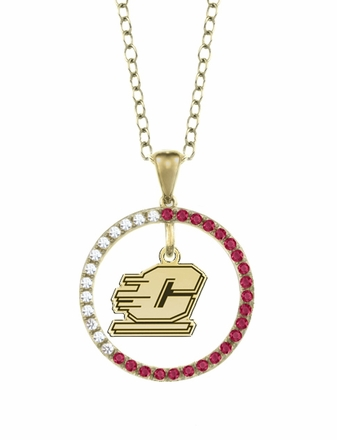 Central Michigan Chippewas Ruby and Diamond Necklace