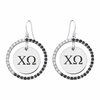 Chi Omega Black and White CZ Circle Earrings