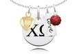 Chi Omega Cluster Necklace With Heart, Color and Love