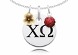 Chi Omega Necklace with Flower and Crystal Ball Accents