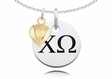 Chi Omega Necklace With Gold Heart Charm Accent