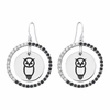 Chi Omega Owl Black and White CZ Circle Earrings