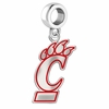 Cincinnati Bearcats Silver Logo and School Color Drop Charm