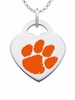Clemson Tigers Logo Heart Pendant With Color