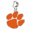 Clemson Tigers Silver Logo and School Color Drop Charm