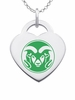 Colorado State Rams Logo Heart Pendant With Color