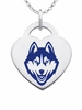 Connecticut Huskies Logo Heart Pendant With Color