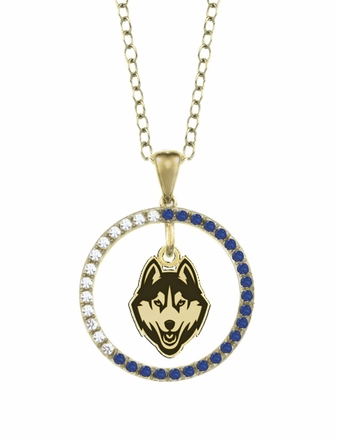 Connecticut Huskies Sapphire and Diamond Necklace