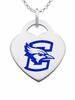 Creighton Bluejays Logo Heart Pendant With Color