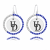Delaware Blue Hens Color CZ Circle Earrings