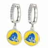 Delaware Blue Hens CZ Hoop Earrings