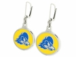 Delaware Blue Hens Silver Enamel Earrings