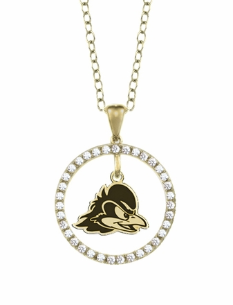 Delaware Blue Hens Gold and Diamond Circle Pendant