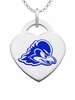 Delaware Blue Hens Logo Heart Pendant With Color