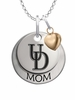 Delaware Blue Hens MOM Necklace with Heart Charm