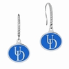 Delaware Blue Hens Sterling Silver and CZ Drop Earrings