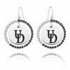 Delaware Fightin' Blue Hens Black and White CZ Circle Earrings