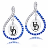 Delaware Fightin' Blue Hens Colored CZ Figure 8 Earrings