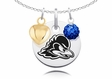 Delaware Fightin' Blue Hens Necklace with Heart and Crystal Accents