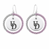Delaware Fightin' Blue Hens Pink CZ Circle Earrings