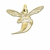 Delaware State Hornet 14K Yellow Gold Natural Finish Cut Out Logo Charm