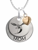 Delaware State Hornet MOM Necklace with Heart Charm