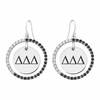 Delta Delta Delta Black and White CZ Circle Earrings