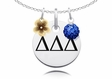Delta Delta Delta Necklace with Flower and Crystal Ball Accents