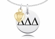 Delta Delta Delta Necklace With Gold Heart Charm Accent