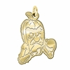 Delta State Statesmen 14K Yellow Gold Natural Finish Cut Out Logo Charm