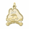 East Carolina Pirates 14K Yellow Gold Natural Finish Cut Out Logo Charm