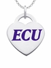 East Carolina Pirates Logo Heart Pendant With Color