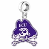 East Carolina Pirates Silver Logo and School Color Drop Charm