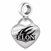 Elon Engraved Heart Dangle Charm