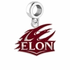 Elon Phoenix Silver Logo and School Color Drop Charm