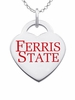 Ferris State Bulldogs Logo Heart Pendant With Color