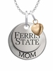 Ferris State Bulldogs MOM Necklace with Heart Charm