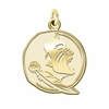 Florida State Seminoles 14K Yellow Gold Natural Finish Cut Out Logo Charm