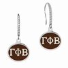 Gamma Phi Beta Sterling Silver and CZ Drop Earrings