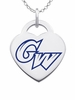 George Washington Colonials Logo Heart Pendant With Color