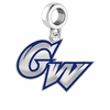 George Washington Colonials Silver Logo and School Color Drop Charm