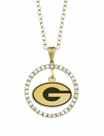Georgia Bulldogs Gold and Diamond Circle Pendant