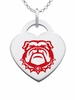 Georgia Bulldogs Logo Heart Pendant With Color