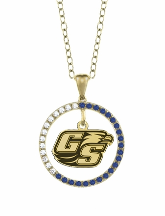 Georgia Southern Eagles Sapphire and Diamond Necklace
