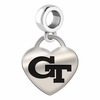 Georgia Tech Engraved Heart Dangle Charm