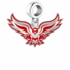 Hartford Hawks Silver Logo and School Color Drop Charm