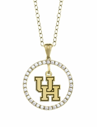 Houston Cougars Gold and Diamond Circle Pendant