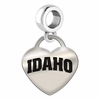 Idaho Engraved Heart Dangle Charm