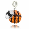 Illinois Fighting Illini Crystal Drop Charm
